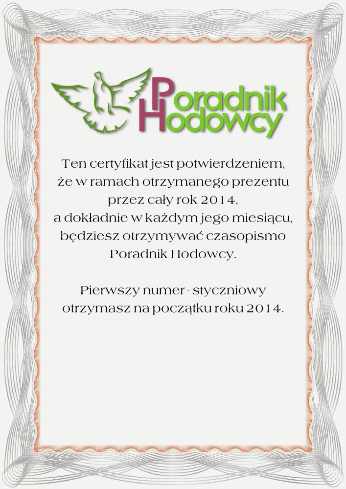 Certyfikat potwierdzenie prenumeraty Poradnika Hodowcy