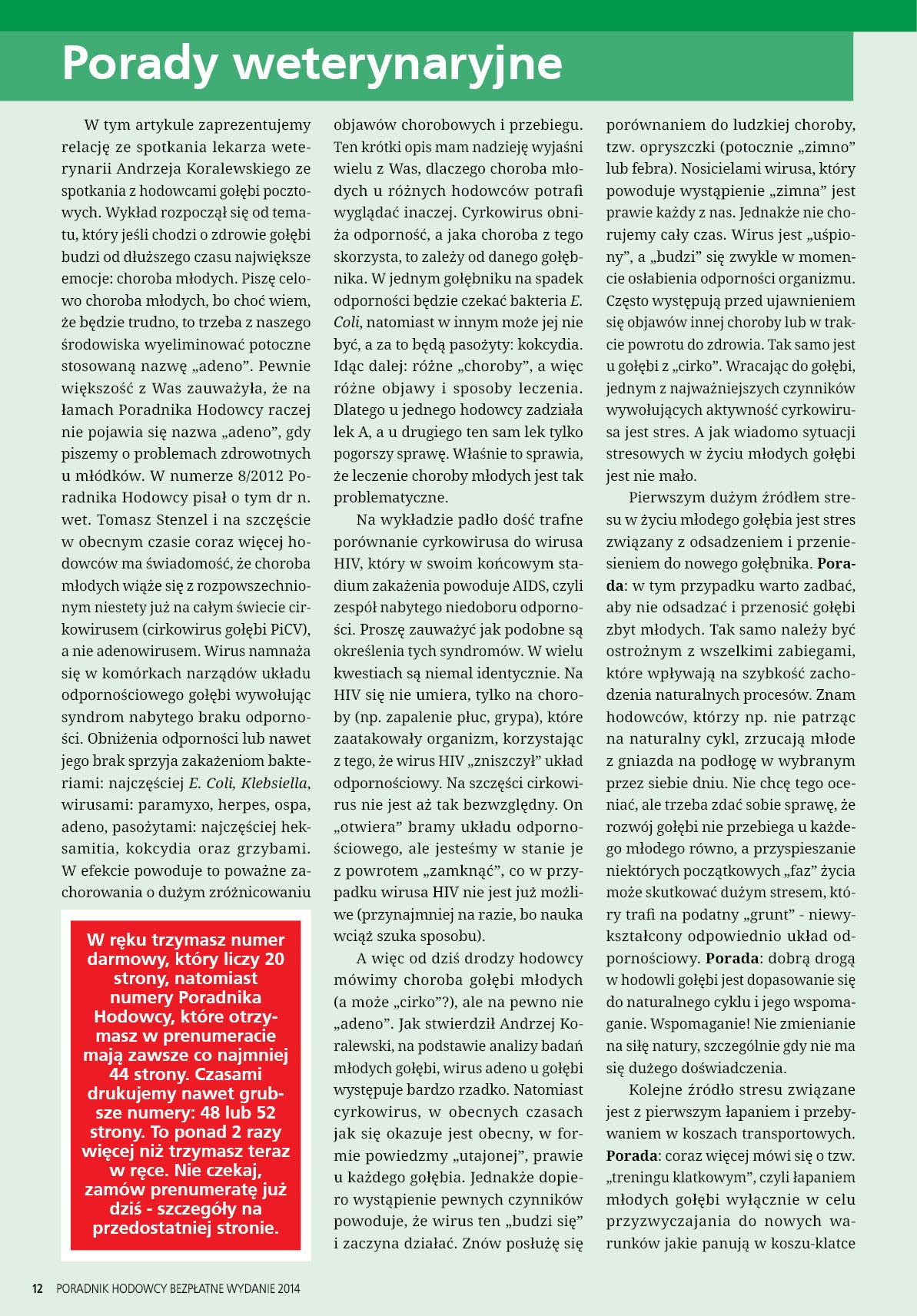 Darmowy numer specjalny Poradnika Hodowcy 2014 - strona 12