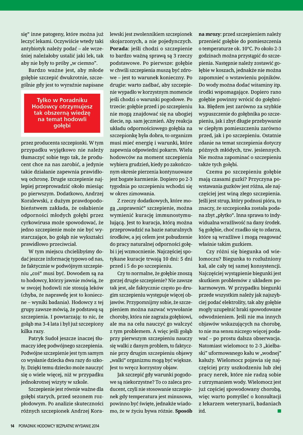 Darmowy numer specjalny Poradnika Hodowcy 2014 - strona 14